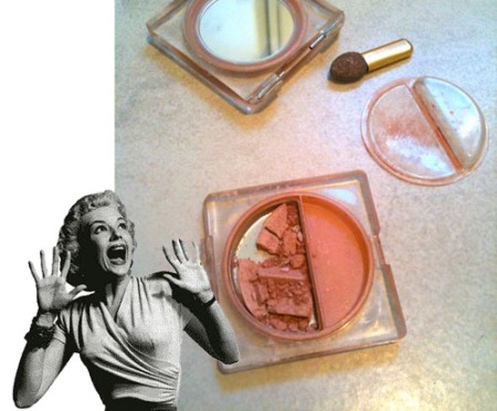 Oh, no! What a waste! Smashed eye shadow