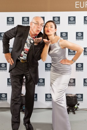 Hamming it up with Dr Karl at the Eureka Prizes. (Image credit: Australian Museum, Studio 24/7)