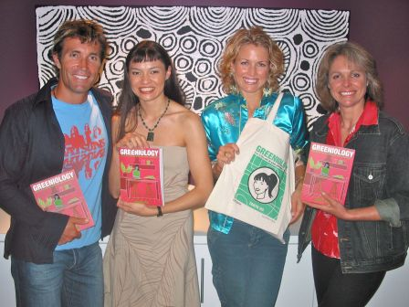 With Planet Ark pals Pat Cash, Karina Brown and Rebecca Gilling at the 2003 launch of the 1st edition of Greeniology