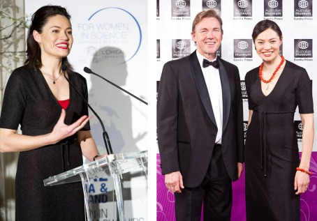 Left: Hosting duties in a borrowed dress. (Image credit: L'Oreal Australia/sdpmedia.com.au) Right: At the 2010 Eureka Prizes with Prof John Thwaites, Chairman of prize winner ClimateWorks Australia (Image credit: Australian Museum, Studio 24/7)