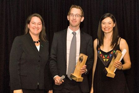 At the UNAA Awards where Minister Mary Wooldridge (then opposition spokesperson for Environment) presented The Age's Adam Morton and I with the joint winner trophies for the Media Award for Environmental Reporting (Image credit: UNAA Vic/Rahima White)